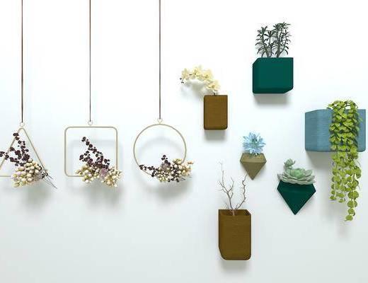 现代, 北欧, 墙饰, 吊饰, 绿植, 花瓶, ins