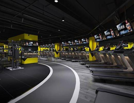 健身房, 健身器械, 拳击台, 跑步机, 工业风