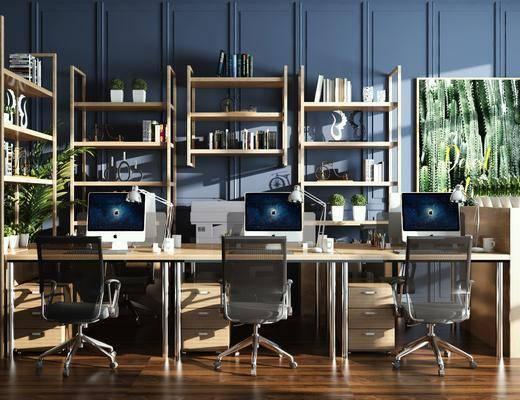 办公桌, 桌椅组合, 电脑桌, 书柜, 书籍