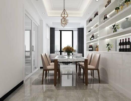 现代餐厅, 港式, 餐桌椅组合, 酒柜, 柜架组合, 吊灯, 趟门, 酒