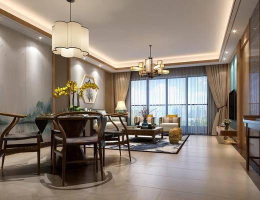 客厅, 餐厅, 多人沙发, 单人沙发, 茶几, 吊灯, 凳子, 边几, 墙饰, 装饰柜, 边柜, 电视柜, 装饰品, 陈设品, 台灯, 装饰架, 新中式
