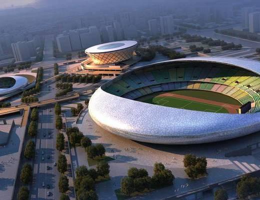 体育馆, 体育场, 鸟瞰, 建筑, 公建