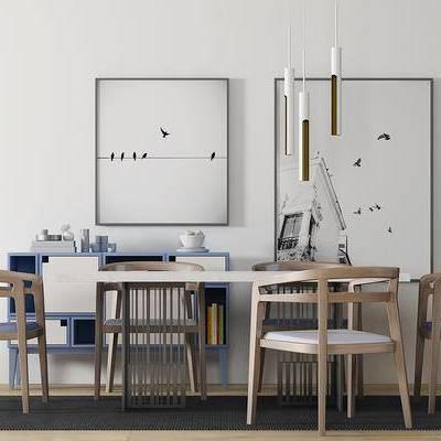 新中式, 餐桌椅组合, 桌椅组合, 吊灯, 边柜
