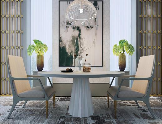 桌椅组合, 花瓶, 陈设品, 挂画, 灯具