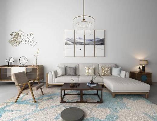 新中式, 沙发组合, 茶几, 灯具, 边柜, 摆件, 装饰画