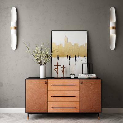 邊柜, 擺件組合, 裝飾畫, 壁燈