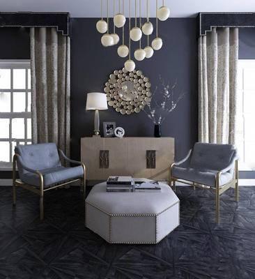 蓝色, 单人沙发, 沙发组合, 沙发茶几组合, 简欧