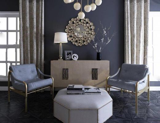 欧式简约, 蓝色, 单人沙发, 沙发组合, 沙发茶几组合