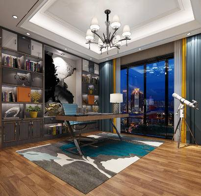 书桌椅, 吊灯, 挂画, 窗帘, 地毯, 饰品