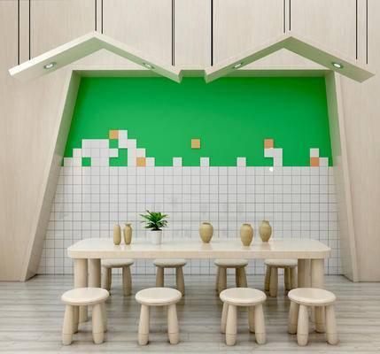 北欧儿童桌椅组合, 儿童背景墙, 儿童吊灯, 卡通吊灯, 卡通桌椅, 儿童书架, 儿童装饰架