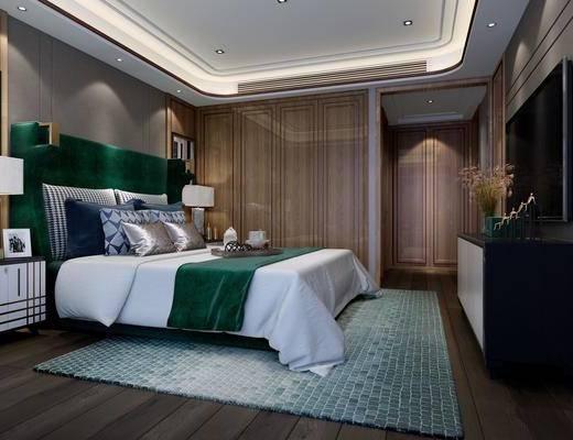 后现代卧室, 卧室, 床, 电视柜, 床品, 床头柜, 台灯