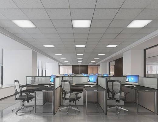 办公区, 办公桌, 办公椅, 单人椅, 电脑, 现代