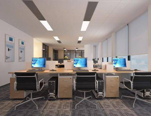 办公区, 现代办公区, 办公桌, 单椅, 桌椅组合