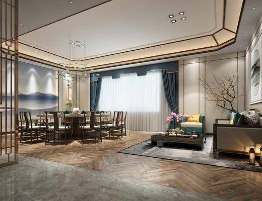 客房, 会客室, 休闲沙发, 餐厅, 背景墙, 吊灯, 茶几, 装饰画, 沙发组合, 餐桌, 桌椅组合
