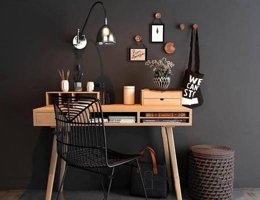 美式简约, 工业风格, 美式书桌, 实木书桌, 书桌组合, 下得乐3888套模型合辑