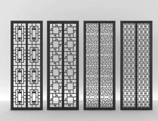 花格玻璃, 屏风隔断, 新中式