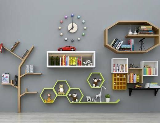 置物架, 装饰柜, 装饰架组合, 墙饰, 现代