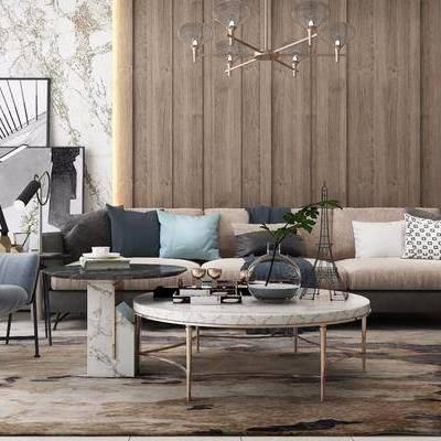 沙发组合, 摆件组合, 茶几, 单椅, 现代沙发组合, 吊灯