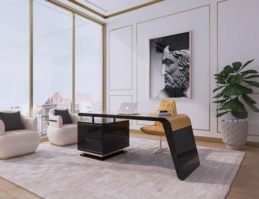 桌椅組合, 單椅, 裝飾畫, 盆栽植物