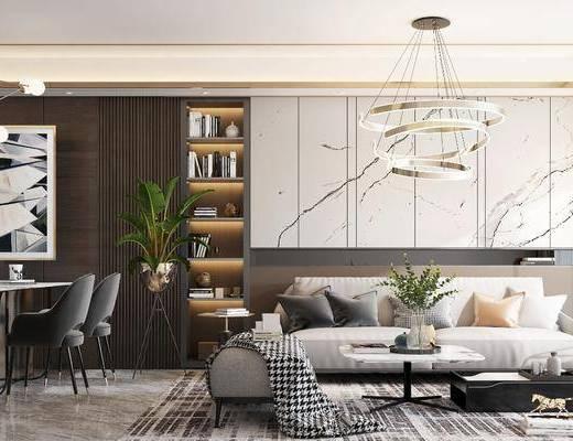 沙发组合, 吊灯, 茶几, 餐桌, 单椅, 摆件组合