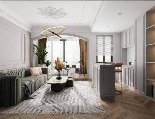 沙发组合, 茶几, 吊灯, 植物, 吧台