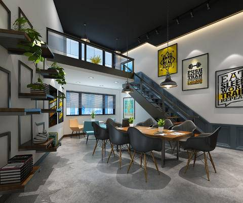 办公室, 工业风格, 现代, 桌子, 椅子, 装饰画