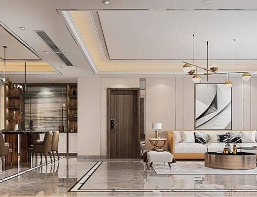沙发组合, 茶几, 装饰画, 吊灯, 摆件组合, 餐桌