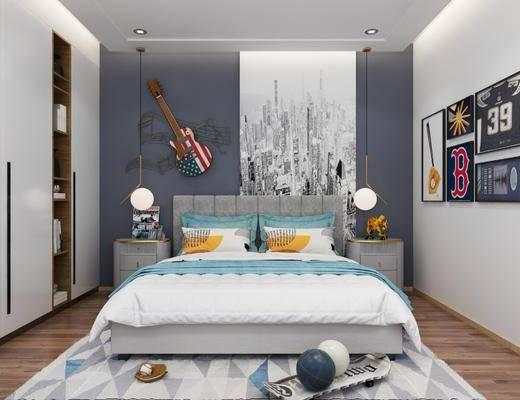 现代卧室, 卧室, 主卧, 床, 衣柜, 装饰画, 其它