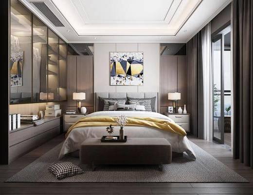 卧室, 双人床, ?#39184;?#26588;, 台灯, 装饰画, 挂画, 床尾凳, 衣柜, 装饰柜, 服饰, 衣服, 现代