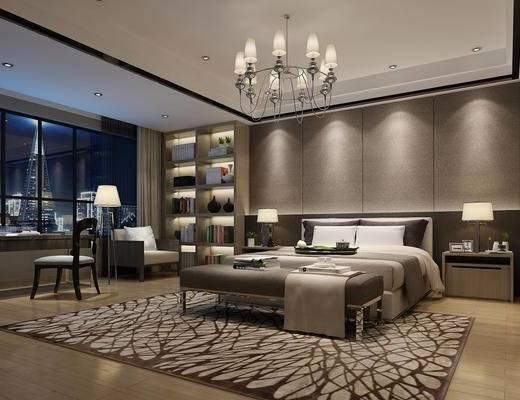 北欧卧室, 现代, 卧室, 吊灯, 床, 床尾凳, 床头柜, 台灯, 单人沙发, 装饰柜, 置物柜, 书桌椅, 椅子, 酒店, 客房