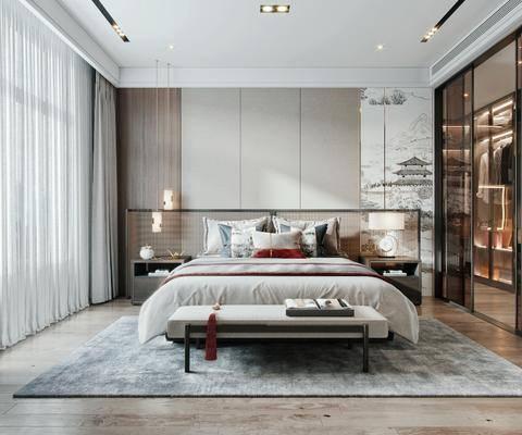 双人床, 床尾踏, 床头柜, 衣柜, 台灯