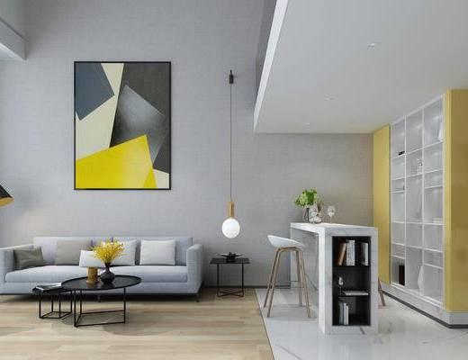客厅, 公寓, 现代, 简约, 北欧, 现代客厅