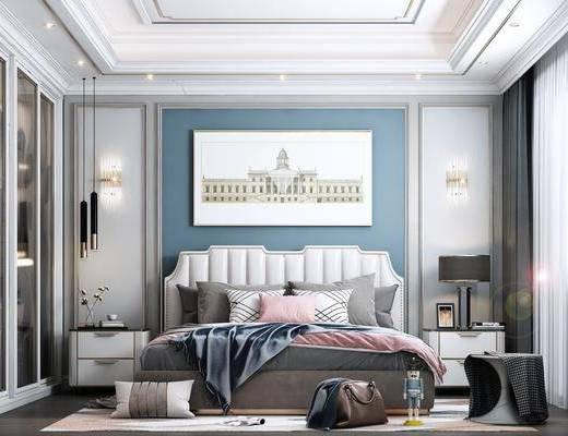 装饰画, 床头柜, 台灯, 墙饰, 地毯, 椅子, 窗帘, 衣柜