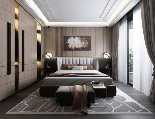 现代, 卧室, 双人床, 床尾凳, 边几, 台灯, 挂画