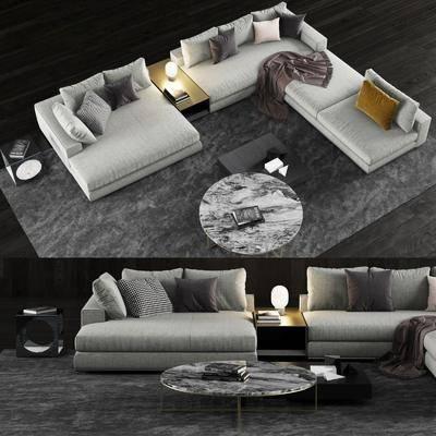 转角沙发, 多人沙发, 茶几, ?#23478;?#27801;发, 抱枕组合, 现代