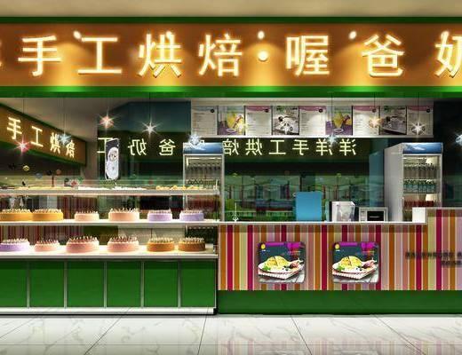 甜品店, 门面, 门头, 吧台, 吧椅, 单人椅, 展台, 吊灯, 食品, 现代
