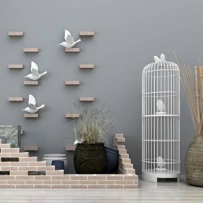 园林小品, 园艺小品, 装饰品, 摆件, 墙饰, 鸟笼摆件, 竹子摆件, 小鸟装饰品