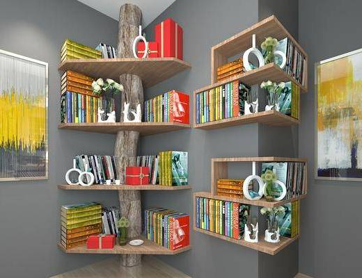 书架, 陈设品, 书, 书柜, 书籍, 挂画, 装饰画, 现代