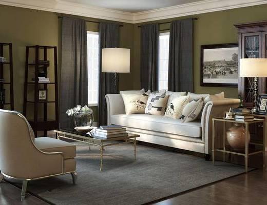 沙发组合, 茶几, 单椅, 摆件组合, 边几, 台灯, 装饰画