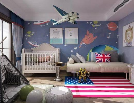 卧室, 儿童房, 多人沙发, 装饰画, 动物画, 挂画, 摇椅, 玩具, 现代