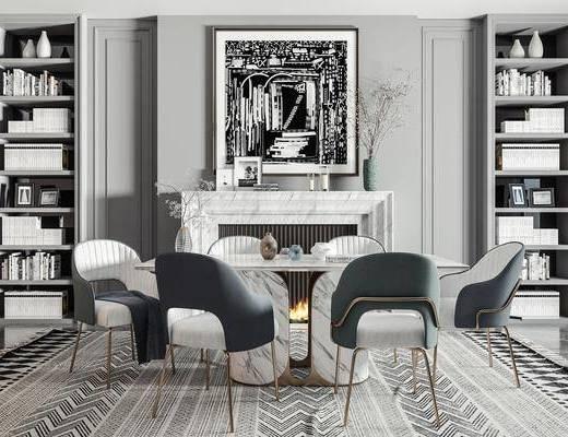 餐桌, 餐椅, 饰品摆件, 桌花, 地毯, 挂画