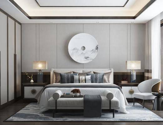 双人床, 床尾踏, 墙饰, 单椅, 床头柜