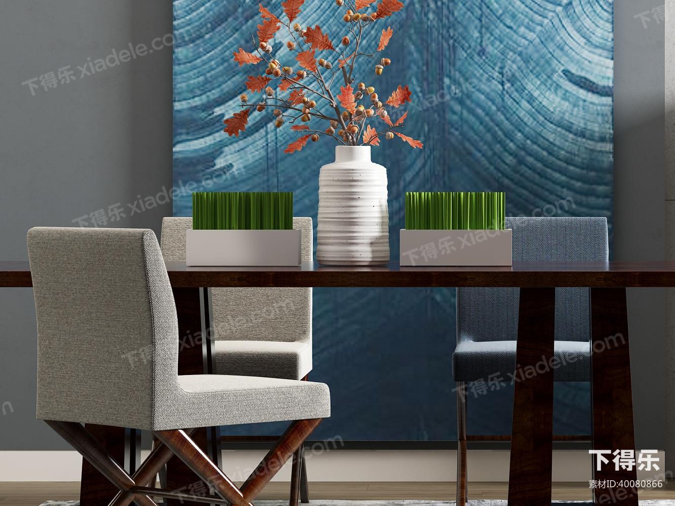 作品点评 技能练习 户型优化 创意设计  现代餐桌椅组合模型 素材id