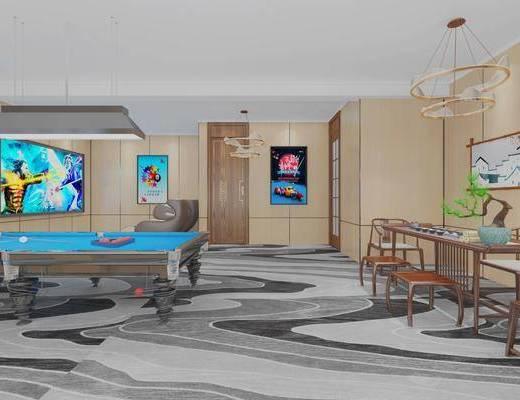新中式, 休息室, 工装