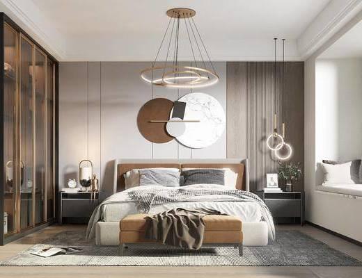 双人床, 床尾踏, 衣柜, 墙饰, 吊灯, 床头柜