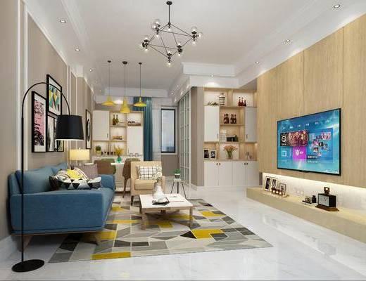 北欧客厅, 现代沙发, 北欧沙发, 沙发组合, 客厅, 沙发茶几组合