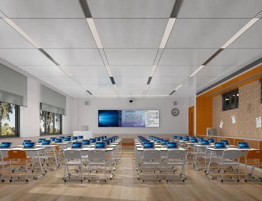 多媒体室, 课桌, 椅子