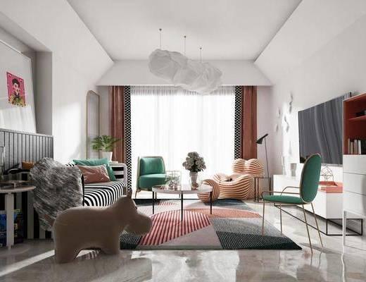 沙发组合, 茶几, 吊灯, 电视柜, 摆件组合, 单椅