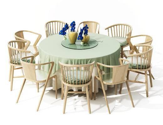 现代, 餐桌椅, 椅子, 圆桌, 桌子, 休闲椅, 单椅, 花瓶