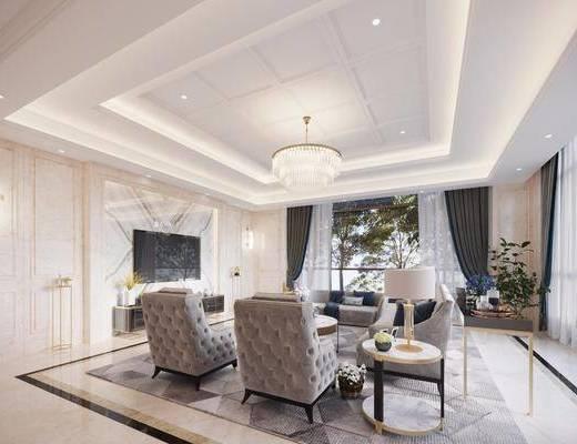 欧式客厅, 客厅, 沙发组合, 餐厅, 餐桌椅